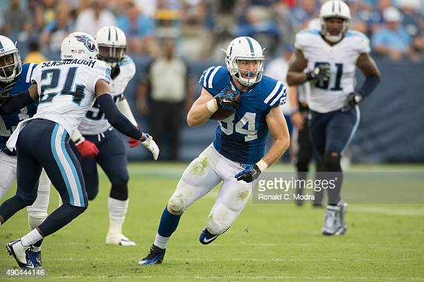 Tight end Jack Doyle of the Indianapolis Colts carries the ball during a NFL game against the Tennessee Titans at Nissan Stadium on September 27 2015...