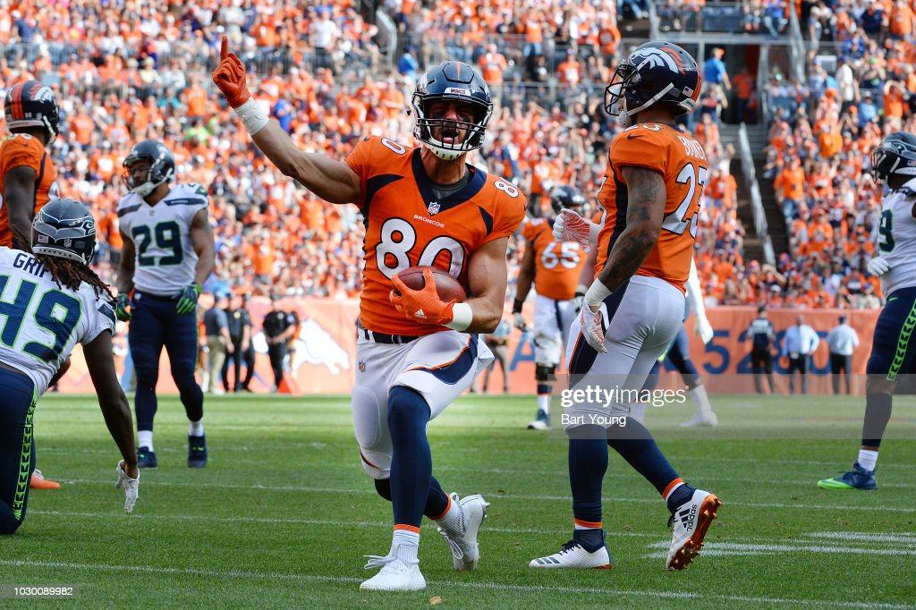 Tight end Jake Butt #80 of the Denver Broncos celebrates a first down against the Seattle Seahawks at Broncos Stadium at Mile High on September 9, 2018 in {Denver, Colorado.