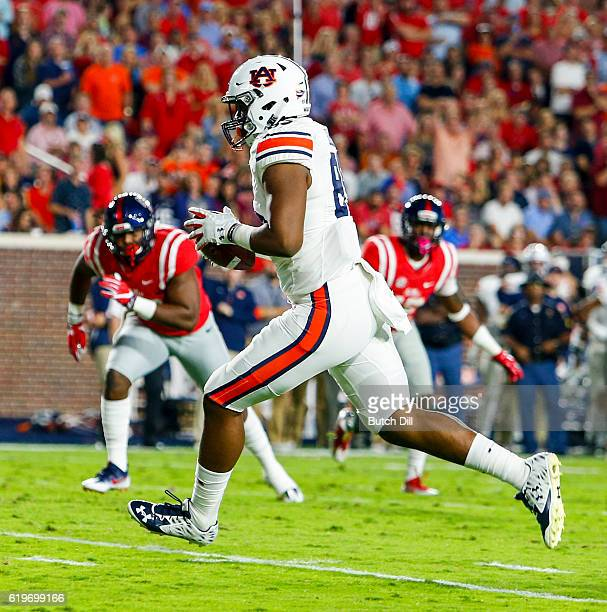 Tight end Jalen Harris of the Auburn Tigers catches a pass for a touchdown during the 2nd half of an NCAA college football game against the...