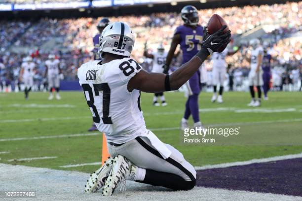 Tight End Jared Cook of the Oakland Raiders celebrates after a touchdown in the third quarter against the Baltimore Ravens at MT Bank Stadium on...