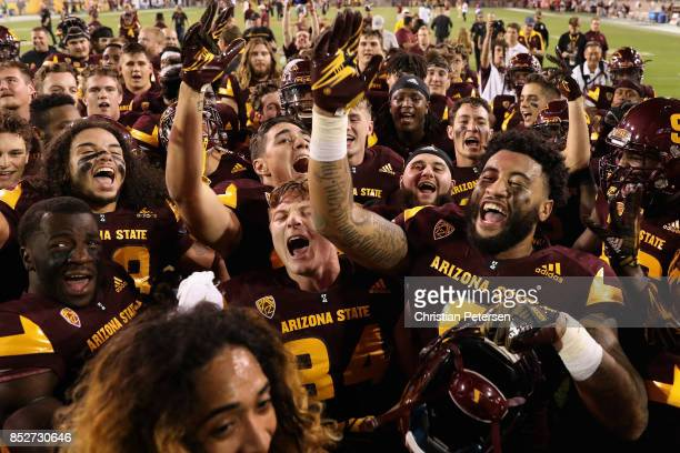 Tight end Jay Jay Wilson and the Arizona State Sun Devils celebrate after defeating the Oregon Ducks in the college football game at Sun Devil...