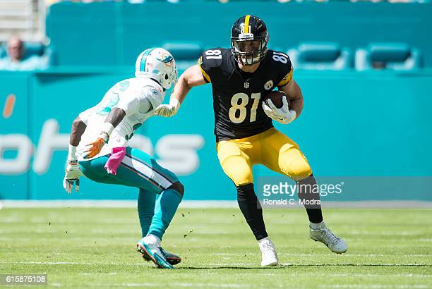 Tight end Jesse James of the Pittsburgh Steelers carries the ball during a NFL game against the Miami Dolphins on October 16, 2016 at Hard Rock...