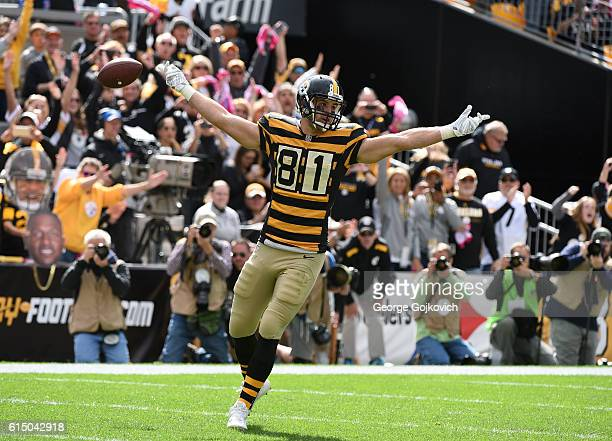 Tight end Jesse James of the Pittsburgh Steelers celebrates after scoring a touchdown on a one-yard pass play during a game against the New York Jets...