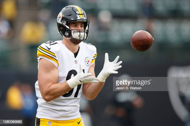 Tight end Jesse James of the Pittsburgh Steelers warms up before the game against the Oakland Raiders at the Oakland Coliseum on December 9, 2018 in...