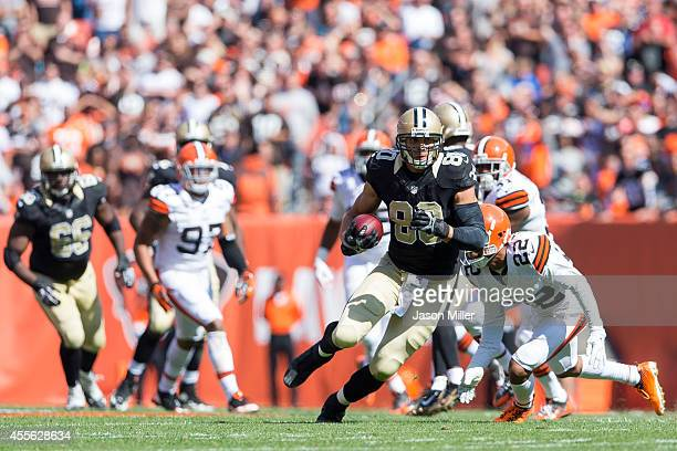 Tight end Jimmy Graham of the New Orleans Saints caries the ball during the first half against the Cleveland Browns at FirstEnergy Stadium on...