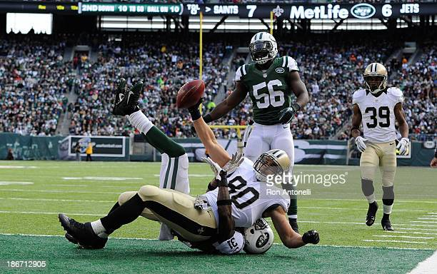 Tight end Jimmy Graham of the New Orleans Saints touchdown catch in the 2nd quarter against the New York Jets at MetLife Stadium on November 3 2013...
