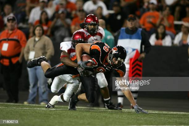 Tight end Joe Newton of the Oregon State Beavers fights for yardage during the game against the Eastern Washington Eagles on August 31 2006 at Reser...
