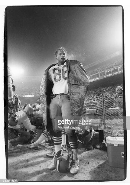 Tight end John Frank of the San Francisco 49ers stands on the sideline during the Monday Night Football game against the Denver Broncos at Mile High...