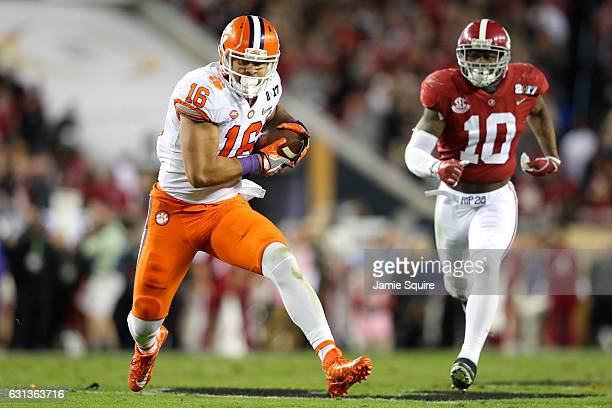 Tight end Jordan Leggett of the Clemson Tigers runs with the ball during the first half against the Alabama Crimson Tide in the 2017 College Football...
