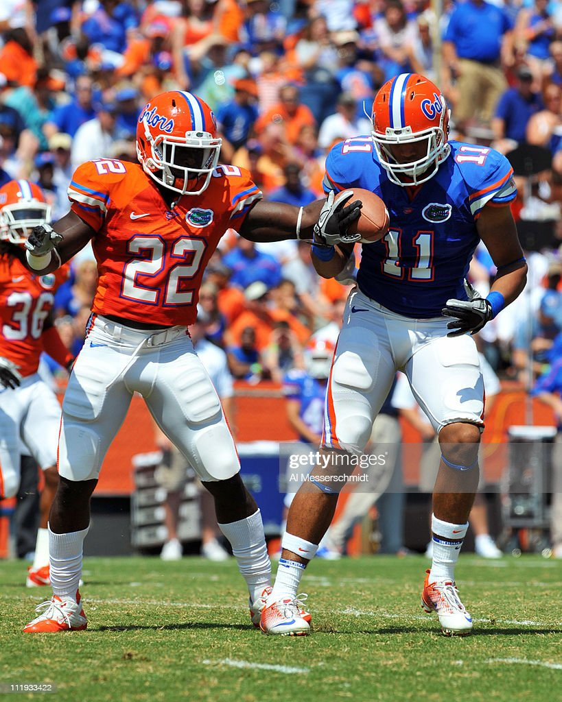 Tight end Jordan Reed #11 of the Florida Gators grabs a ball in front of safety Matt Elam #22 during the Orange and Blue spring football game April 9, 2010 Ben Hill Griffin Stadium in Gainesville, Florida.