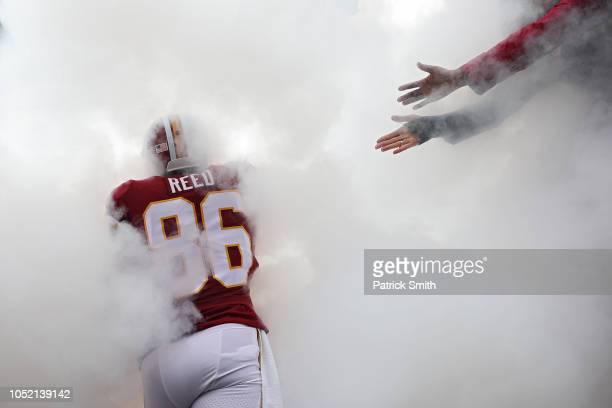 Tight end Jordan Reed of the Washington Redskins is introduced before playing against the Carolina Panthers at FedExField on October 14 2018 in...