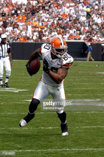 Tight end Kellen Winslow Jr #80 of the Cleveland Browns runs for an 18yard touchdown during a game on September 10 2006 against the New Orleans...