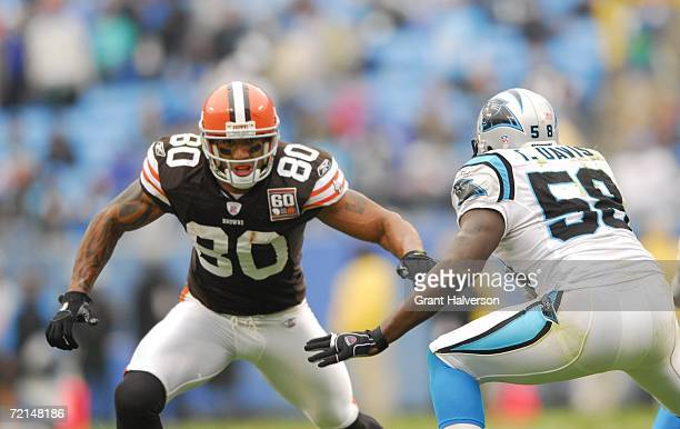 Tight end Kellen Winslow of the Cleveland Browns evades linebacker Thomas Davis of the Carolina Panthers during their NFL game on October 8 at Bank...