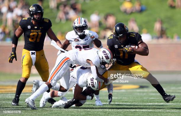 Tight end Kendall Blanton of the Missouri Tigerscarries the ball during the game against the Tennessee Martin Skyhawks at Faurot Field/Memorial...