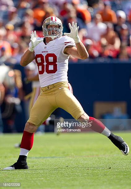 Tight end Konrad Reuland of the San Francisco 49ers in action during a preseason game against the Denver Broncos at Sports Authority Field Field at...