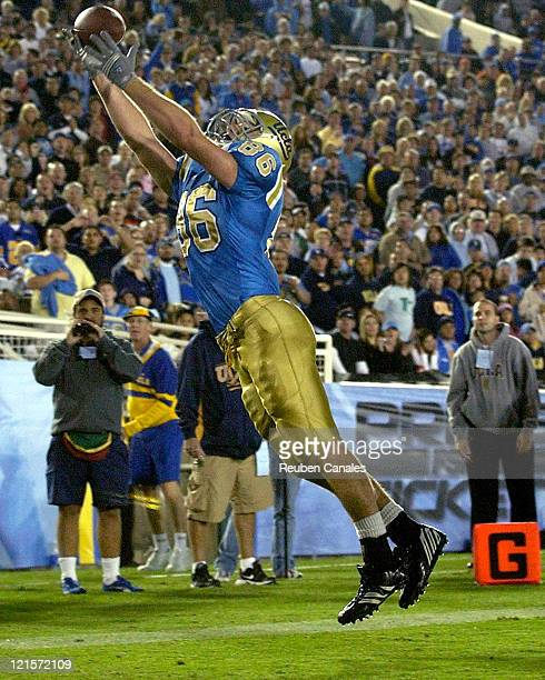 Tight end Logan Paulsen of the UCLA Bruins attempts to make a catch in a failed two point conversion in a 25 to 7 victory over the Oregon State...