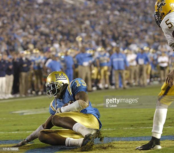 UCLA tight end Marcedes Lewis makes a reception in the endzone for a touchdown during the Arizona State vs UCLA game at the Rose Bowl in Pasadena CA...