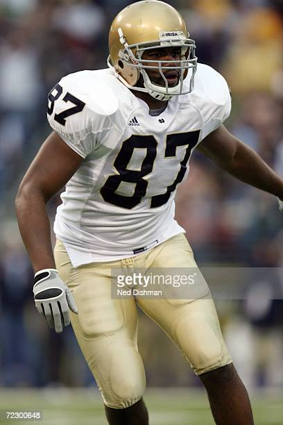 Tight end Marcus Freeman of the Notre Dame Fighting Irish blocks against the Navy Midshipmen on October 28 2006 at MT Bank Stadium in Baltimore...
