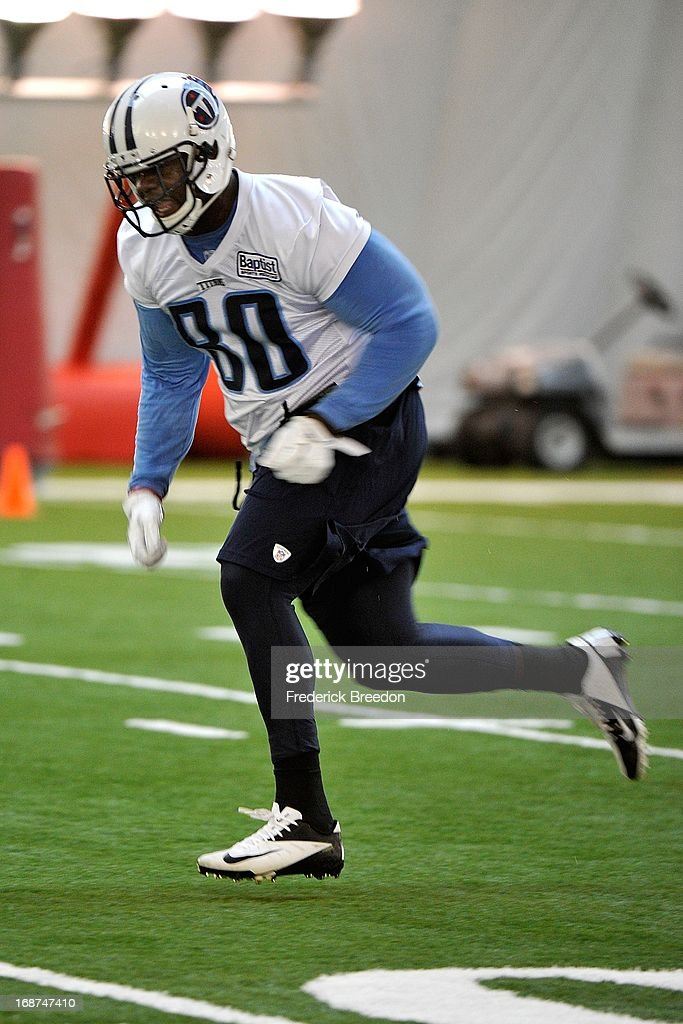 Tight end Martell Webb #80 of the Tennessee Titans attends rookie camp on May 10, 2013 in Nashville, Tennessee.