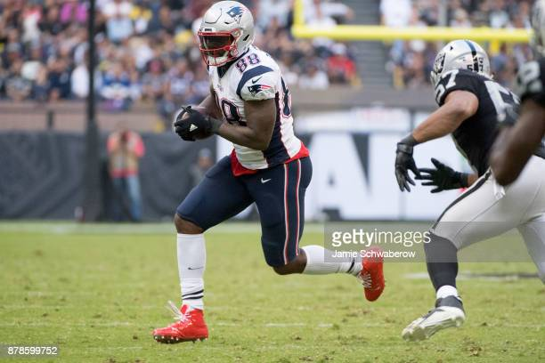 Tight end Martellus Bennett of the New England Patriots makes a catch against of the Oakland Raiders at Estadio Azteca on November 19 2017 in Mexico...