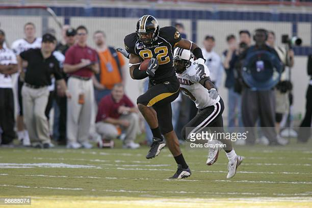 Tight end Martin Rucker of the Missouri Tigers carries the ball against the South Carolina Gamecocks during the Independence Bowl on December 30,...