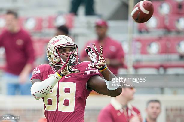 Tight end Mavin Saunders of the Florida State Seminoles prior to their game against the Syracuse Orange on October 31 2015 at Doak Campbell Stadium...