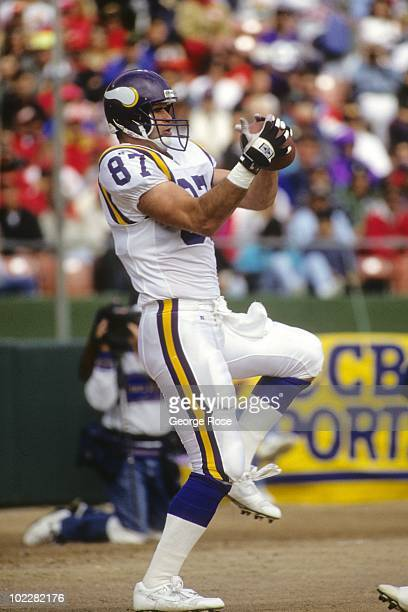 Tight end Mike Tice of the Minnesota Vikings catches a three yard reception for a touchdown during the game against the San Francisco 49ers at...