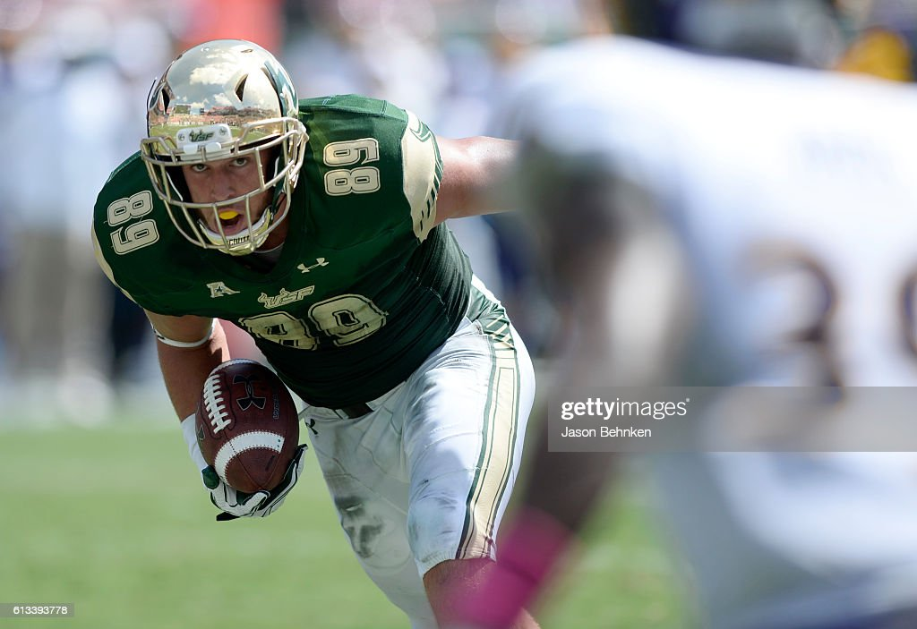 Tight end Mitchell Wilcox #89 of the South Florida Bulls looks up field after a catch against the East Carolina Pirates during the 2nd quarter at Raymond James Stadium on October 8, 2016 in Tampa, Florida.