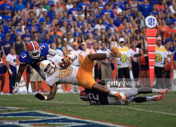 Tight end Mychal Rivera of the Tennessee Volunteers makes a reception for a touchdown against linebacker Jelani Jenkins of the Florida Gators and...