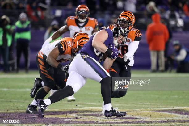 Tight end Nick Boyle of the Baltimore Ravens runs with the ball in the fourth quarter against the Cincinnati Bengals at MT Bank Stadium on December...