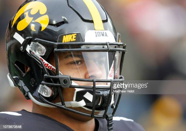 Tight end Noah Fant of the Iowa Hawkeyes before the matchup against the Nebraska Cornhuskers on November 23 2018 at Kinnick Stadium in Iowa City Iowa