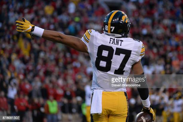 Tight end Noah Fant of the Iowa Hawkeyes signals against the Nebraska Cornhuskers at Memorial Stadium on November 24 2017 in Lincoln Nebraska