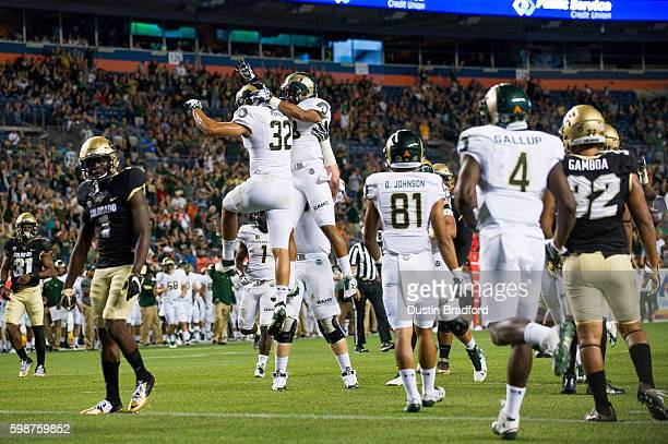 Tight end Nolan Peralta of the Colorado State Rams celebrates after scoring a second half touchdown against the Colorado Buffaloes at Sports...