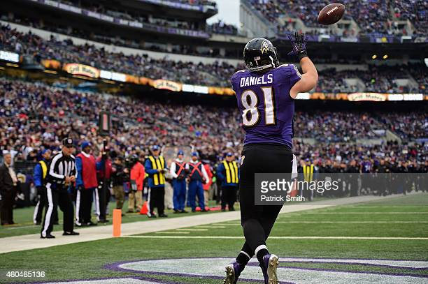 Tight end Owen Daniels of the Baltimore Ravens catches a third quarter touchdown against the Jacksonville Jaguars at MT Bank Stadium on December 14...