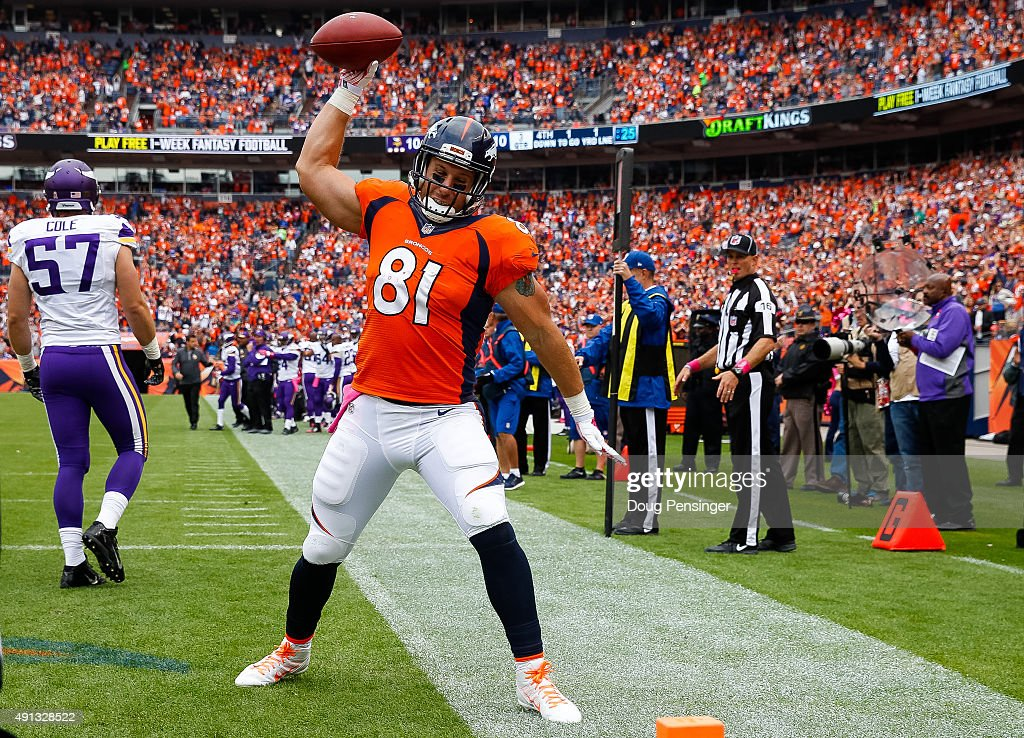 Tight end Owen Daniels #81 of the Denver Broncos celebrates in the end zone after a second quarter passing play against the Minnesota Vikings during a game at Sports Authority Field at Mile High on October 4, 2015 in Denver, Colorado.