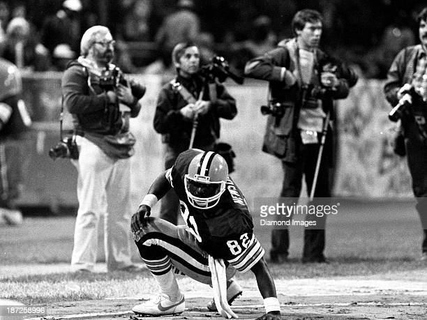 Tight end Ozzie Newsome of the Cleveland Browns gets up after falling in the endzone during a game against the Cincinnati Bengals on September 15...