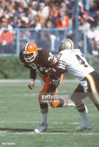 Tight End Ozzie Newsome of the Cleveland Browns in action against Mike Spivey of the New Orleans Saints during an NFL football game October 18 1981...