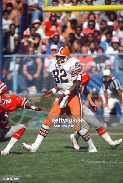 Tight End Ozzie Newsome of the Cleveland Browns in action against the Atlanta Falcons during an NFL football game September 27 1981 at Cleveland...