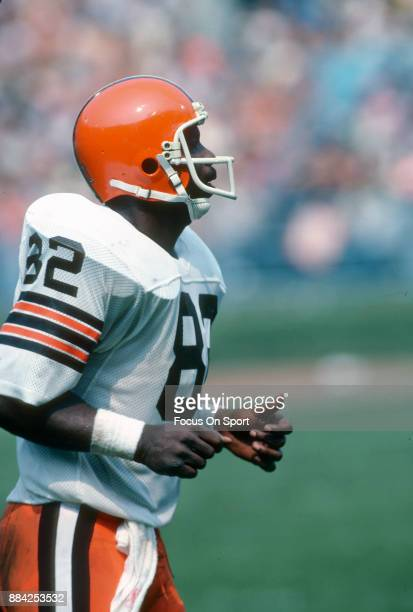 Tight End Ozzie Newsome of the Cleveland Browns looks on against the Houston Oilers during an NFL football game September 13 1981 at Cleveland...