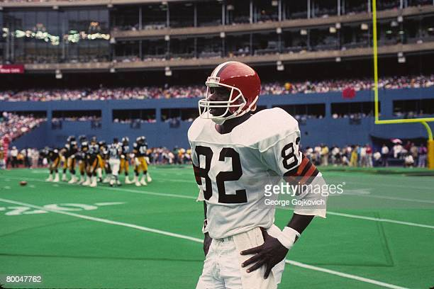 Tight end Ozzie Newsome of the Cleveland Browns looks on from the sideline during a game against the Pittsburgh Steelers at Three Rivers Stadium...