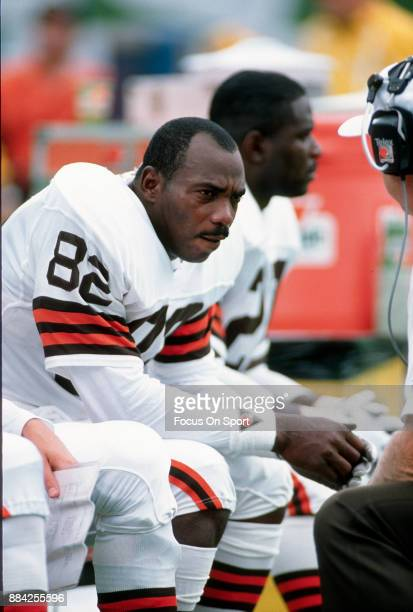 Tight End Ozzie Newsome of the Cleveland Browns looks on from the bench during an NFL football game circa 1990 Newsome played for the Browns from...