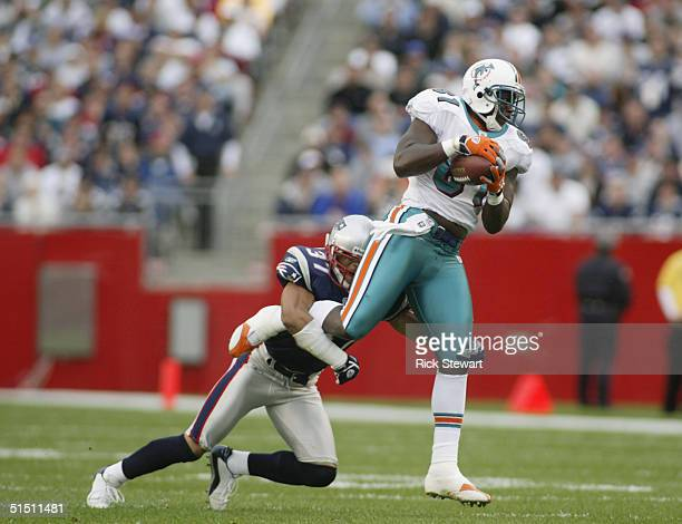 Tight end Randy McMichael of the Miami Dolphins is tackled by safety Rodney Harrison of the New England Patriots at Gillette Stadium on October 10,...