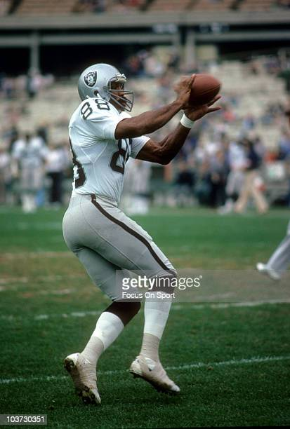 Tight End Raymond Chester of the Oakland Raiders catches a pass in pre-game warm ups during an NFL football game circa 1979. Chester played for the...