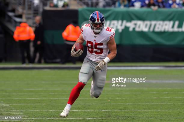 Tight End Rhett Ellison of the New York Giants has a long gain against the New York Jets in the first half at MetLife Stadium on November 10, 2019 in...