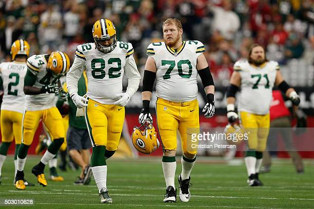 Tight end Richard Rodgers and guard TJ Lang of the Green Bay Packers during the NFL game against the Arizona Cardinals at the University of Phoenix...