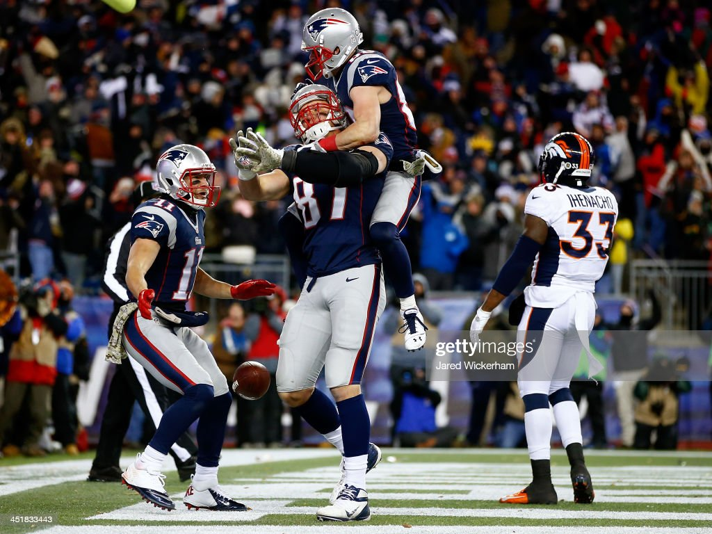 Denver broncos v new england patriots photos and images getty images tight end rob gronkowski 87 celebrates a touchdown with danny amendola of the new england voltagebd Images