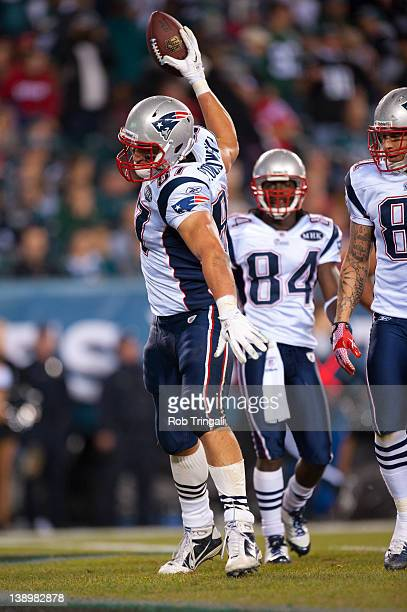 Tight end Rob Gronkowski of the New England Patriots spikes the ball after scoring a touchdown during the game against the Philadelphia Eagles at...