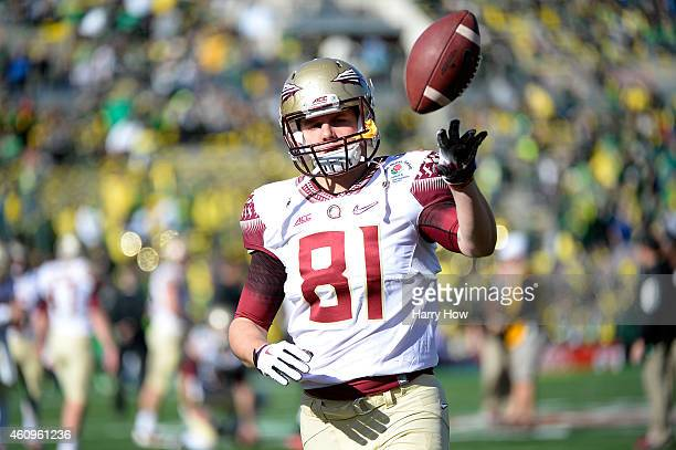 Tight end Ryan Izzo of the Florida State Seminoles warms up prior to the College Football Playoff Semifinal at the Rose Bowl Game presented by...