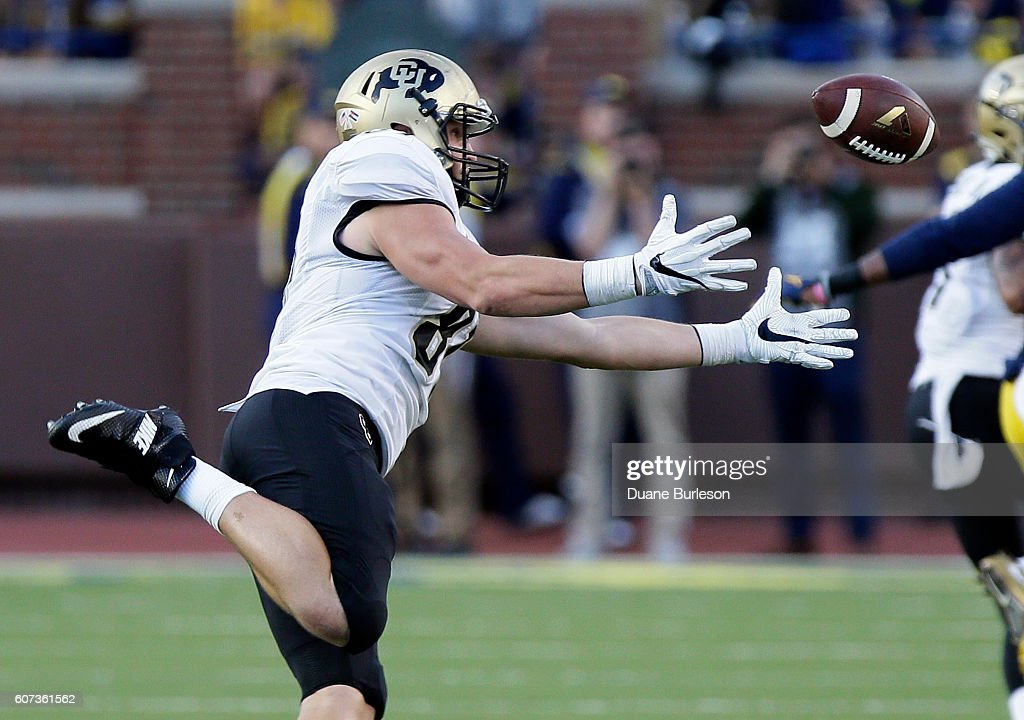 Tight end Sean Irwin #81 of the Colorado Buffaloes can't make the catch on a fourth down play during the second half of a game against the Michigan Wolverines at Michigan Stadium on September 17, 2016 in Ann Arbor, Michigan. Michigan defeated Colorado 45-28.