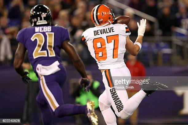 Tight end Seth DeValve of the Cleveland Browns scores a second quarter touchdown past free safety Lardarius Webb of the Baltimore Ravens at M&T Bank...